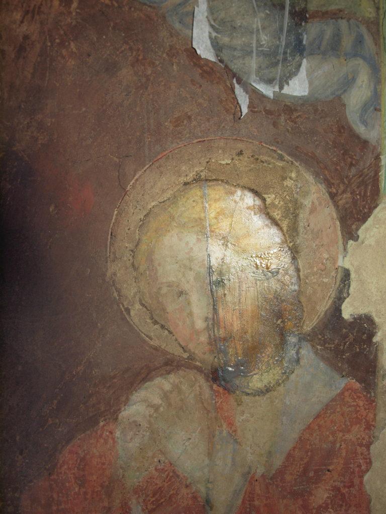 restauro degli affreschi prova di pulitura: 2 fase