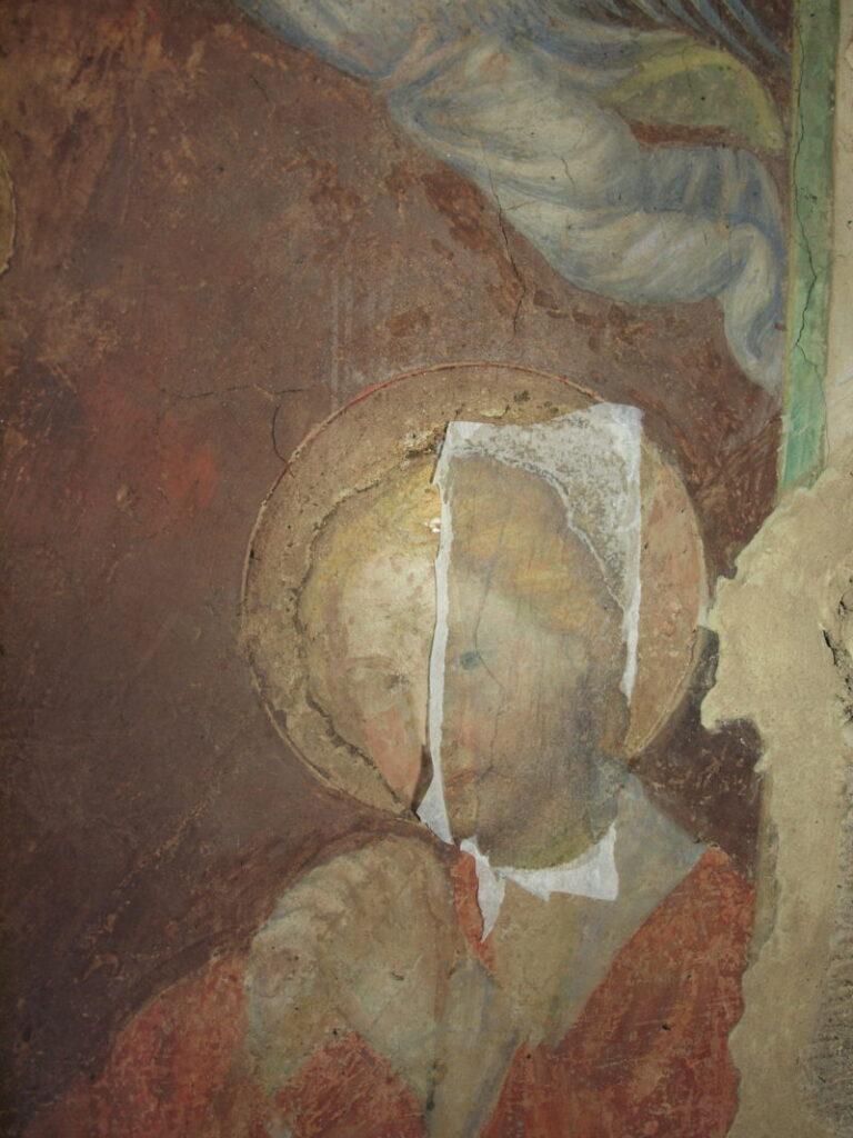 restauro degli affreschi prova di pulitura: 1 fase