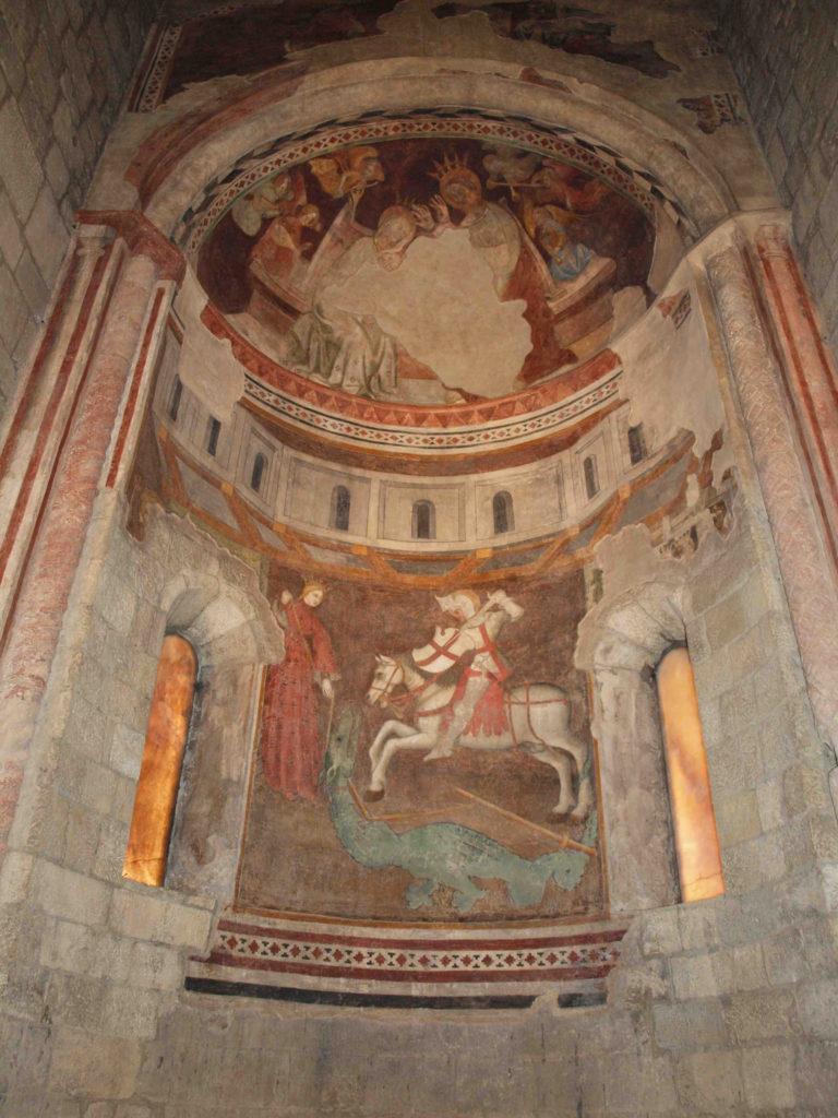 restauro degli affreschi affresco di san Giorgio e il Drago