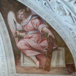 angelo con pialla dopo il restauro: ritornano i colori